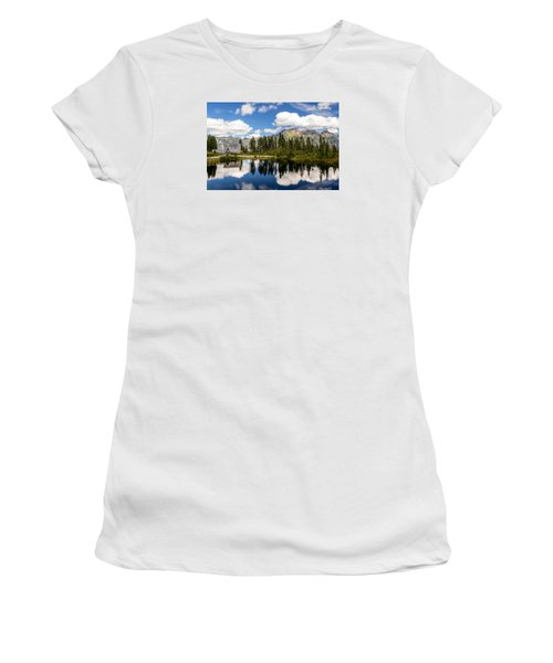 Mt Baker Lodge Reflection In Picture Lake 2 Women's T-Shirt (Junior Cut) by Rob Green