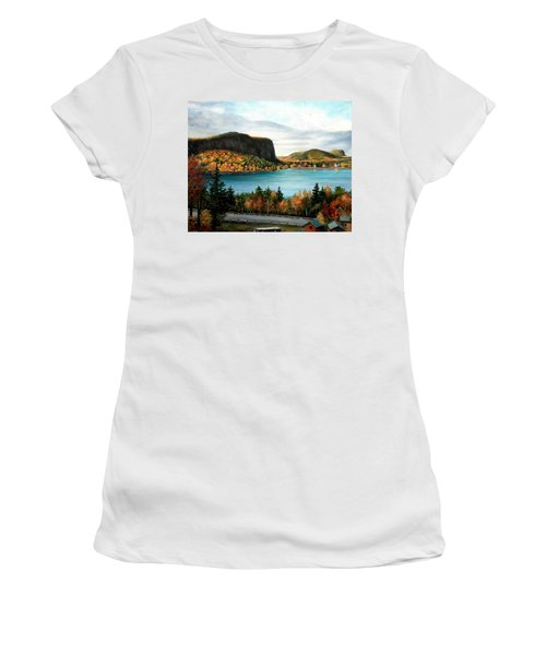 Mt. Kineo, Rockwood, Maine Women's T-Shirt (Athletic Fit)