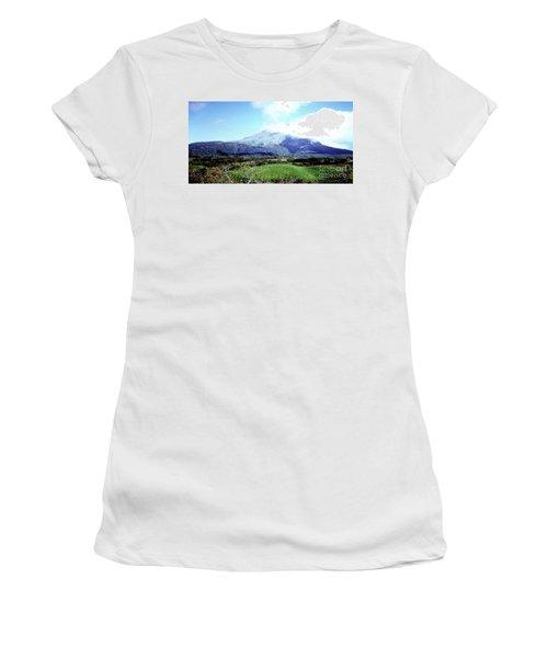 Women's T-Shirt (Athletic Fit) featuring the photograph Mt. Pele, Martinique by Merton Allen