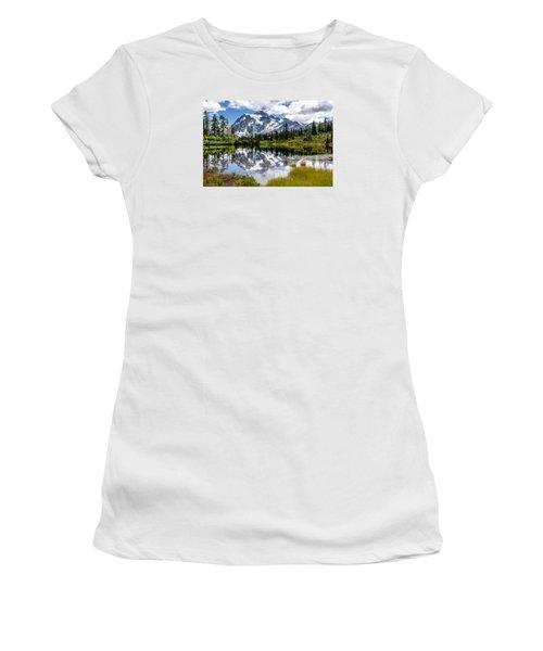 Mt Shuksan On Picture Lake 1 Women's T-Shirt (Junior Cut) by Rob Green