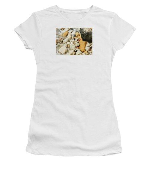 multi colored Beach rocks Women's T-Shirt (Junior Cut) by Expressionistart studio Priscilla Batzell