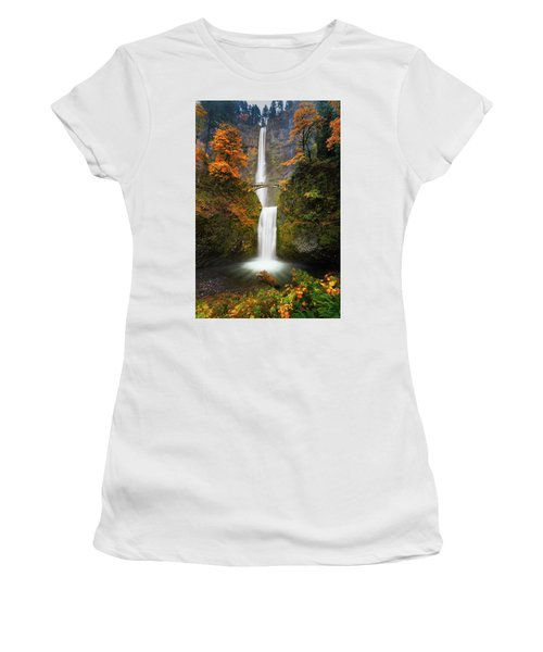 Multnomah Falls In Autumn Colors Women's T-Shirt (Athletic Fit)
