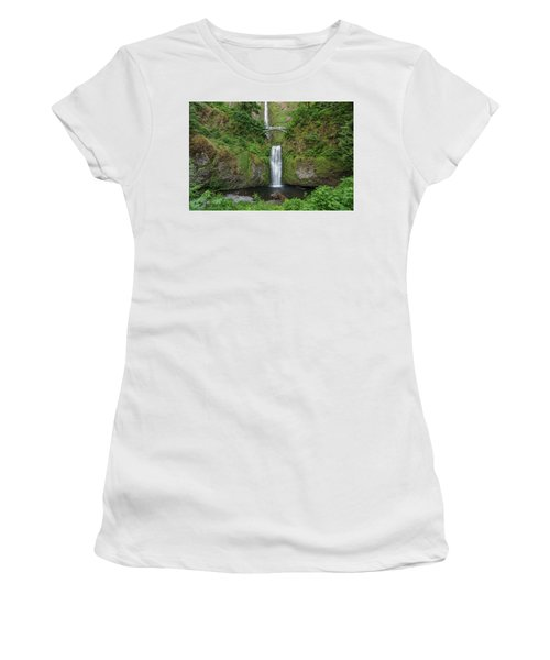 Women's T-Shirt (Junior Cut) featuring the photograph Multnomah Falls In Spring by Greg Nyquist