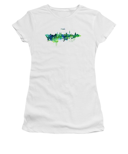 Munich Skyline Silhouette Women's T-Shirt (Athletic Fit)