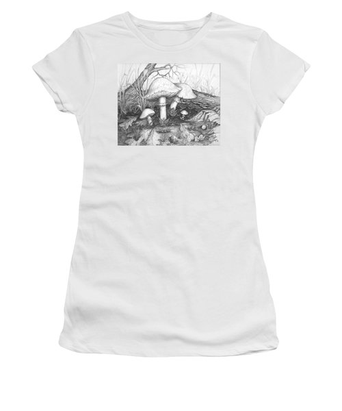 Mushrooms -pencil Study Women's T-Shirt (Athletic Fit)