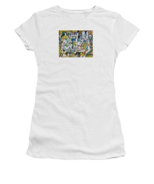Musical Abstraction  Women's T-Shirt (Junior Cut) by Rita Fetisov