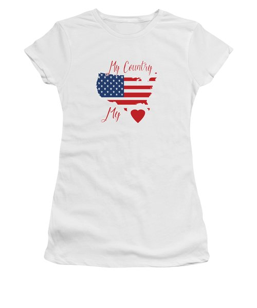 Women's T-Shirt featuring the digital art My Country My Heart by Judy Hall-Folde