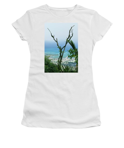 My Favorite Wishbone Between A Mountain And The Beach Women's T-Shirt (Athletic Fit)