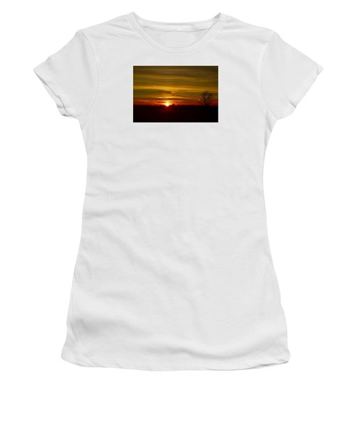 Women's T-Shirt (Junior Cut) featuring the photograph My First 2016 Sunset Photo by Dacia Doroff