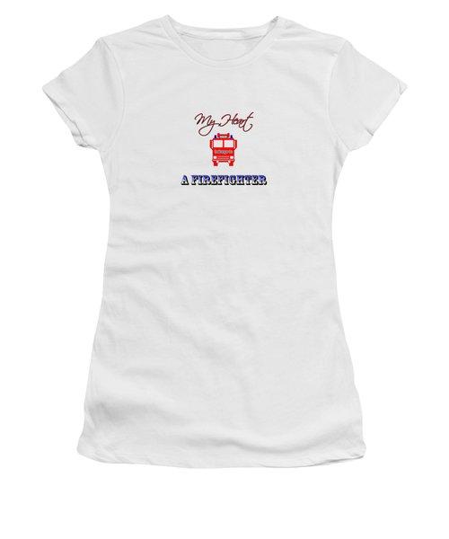 My Heart Belongs To A Firefighter Women's T-Shirt
