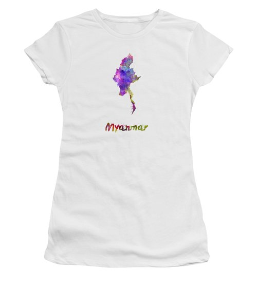 Myanmar In Watercolor Women's T-Shirt (Athletic Fit)