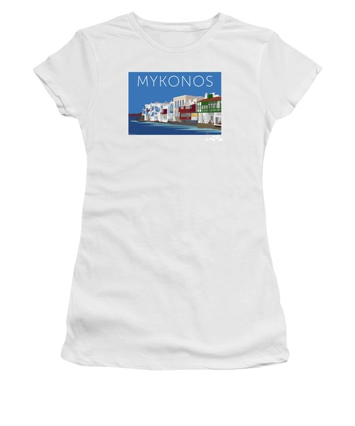 Mykonos Little Venice - Blue Women's T-Shirt (Athletic Fit)