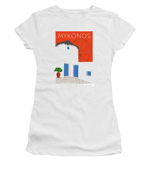 Mykonos Windmill - Orange Women's T-Shirt