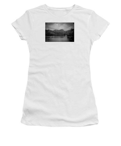 Nantahala River Great Smoky Mountains In Black And White Women's T-Shirt (Junior Cut) by Kelly Hazel
