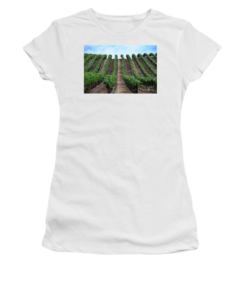 Napa Vineyards Women's T-Shirt (Junior Cut) by Judy Wolinsky
