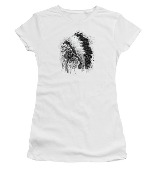 Women's T-Shirt (Junior Cut) featuring the mixed media Native American Chief Side Face Black And White by Marian Voicu