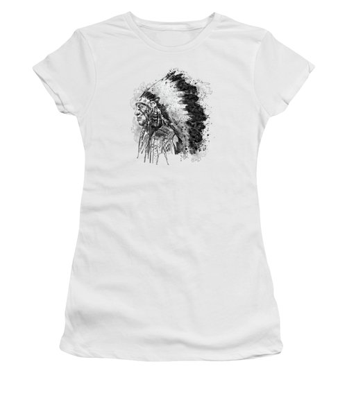 Native American Chief Side Face Black And White Women's T-Shirt
