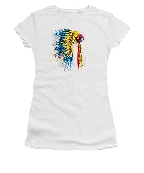 Native American Feather Headdress   Women's T-Shirt (Junior Cut) by Marian Voicu
