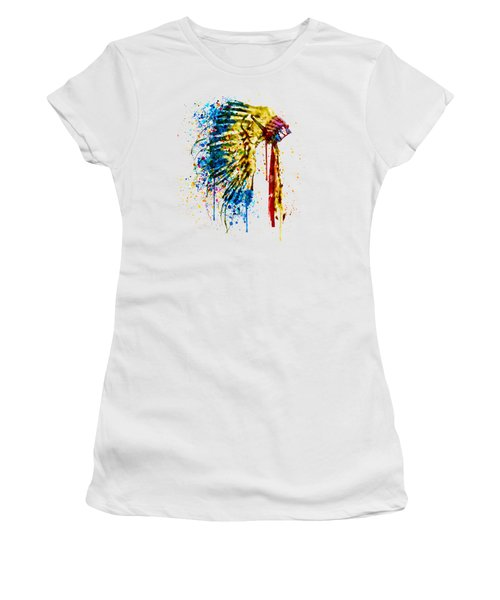 Native American Feather Headdress   Women's T-Shirt