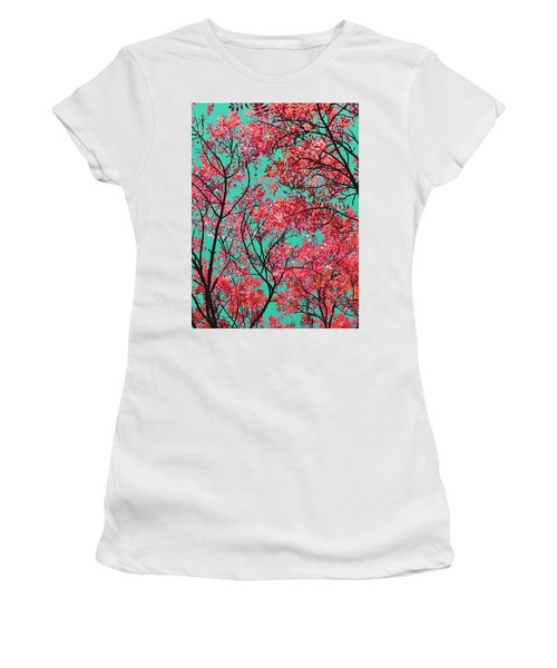Natures Magic - Fire Red Women's T-Shirt (Junior Cut) by Rebecca Harman
