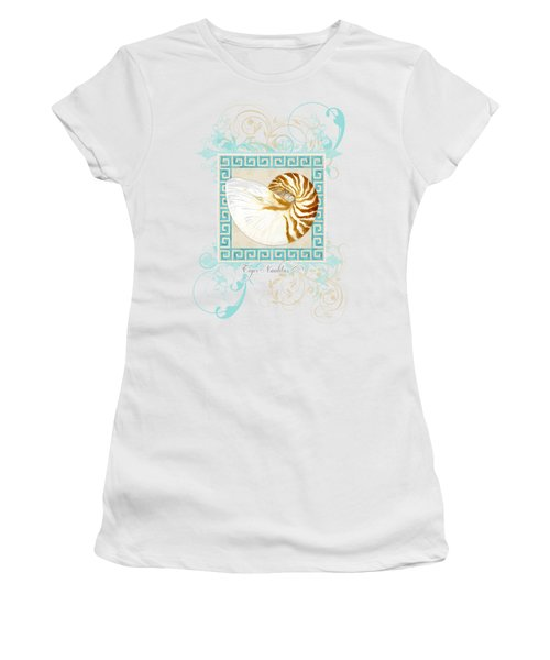 Nautilus Shell Greek Key W Swirl Flourishes Women's T-Shirt