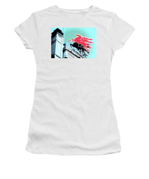 Neon Pegasus Atop Magnolia Building In Dallas Texas Women's T-Shirt
