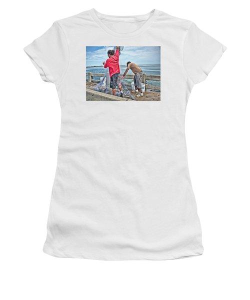 Net Fishing On Cortez Bridge  Women's T-Shirt (Junior Cut) by Glenn Gemmell