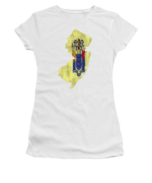 New Jersey Map Art With Flag Design Women's T-Shirt
