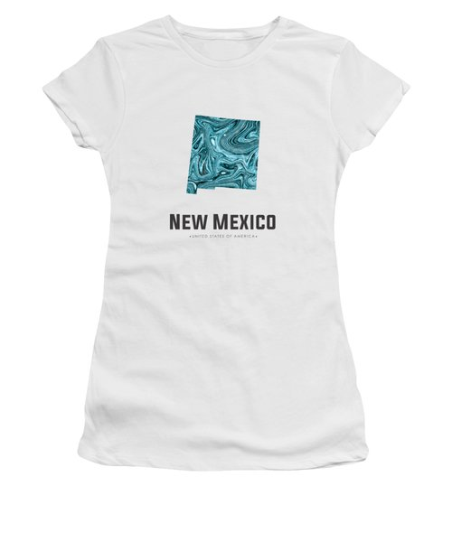 New Mexico Map Art Abstract In Blue Women's T-Shirt