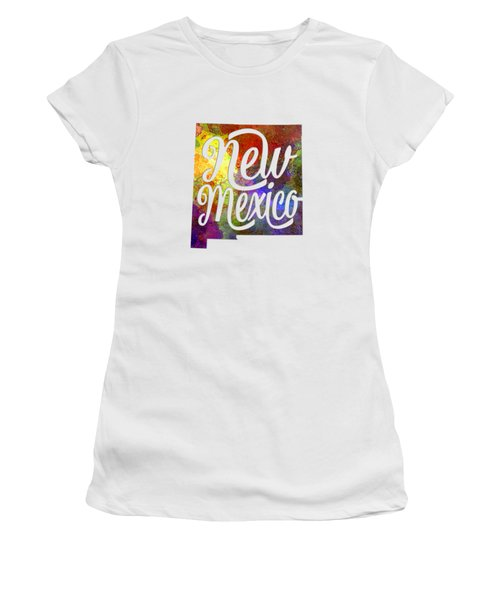 New Mexico Us State In Watercolor Text Cut Out Women's T-Shirt