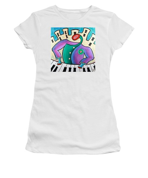 Women's T-Shirt (Athletic Fit) featuring the painting New Orleans Cool Jazz Piano by Bob Baker