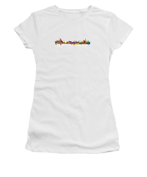 New York And London Skyline Mashup Women's T-Shirt (Junior Cut) by Michael Tompsett