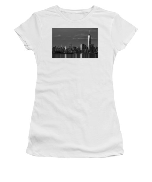 Women's T-Shirt (Athletic Fit) featuring the photograph New York City Icons Bw by Susan Candelario