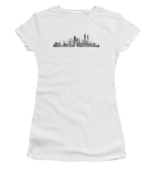 New York City Skyline B/w Women's T-Shirt (Junior Cut) by Anton Kalinichev