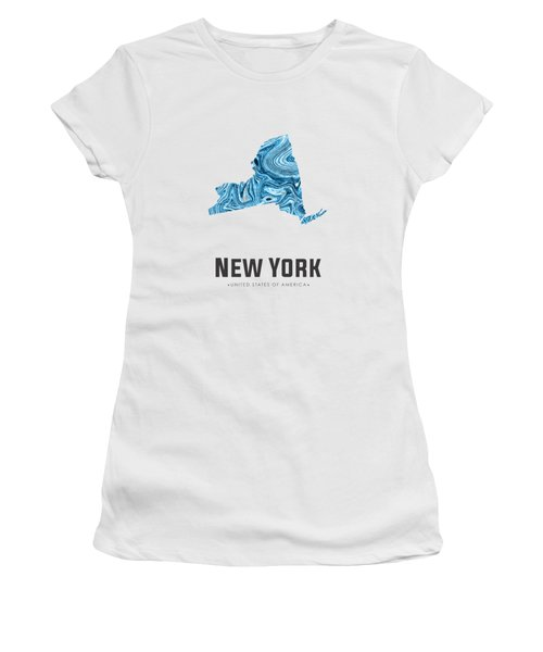 New York Map Art Abstract In Blue Women's T-Shirt