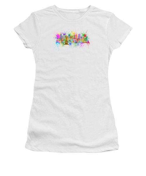 New York Skyline Paint Splatter Illustration Women's T-Shirt (Athletic Fit)