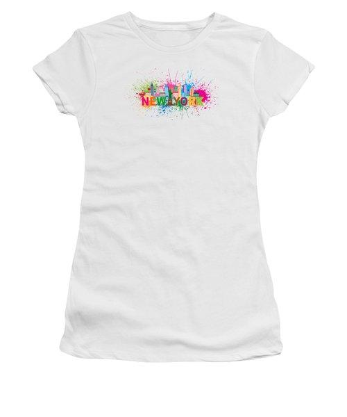 New York Skyline Paint Splatter Text Illustration Women's T-Shirt (Athletic Fit)