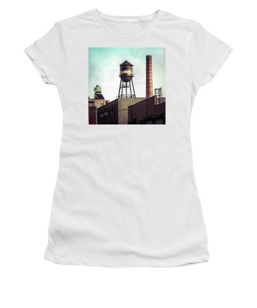 Women's T-Shirt (Junior Cut) featuring the photograph New York Water Towers 19 - Urban Industrial Art Photography by Gary Heller