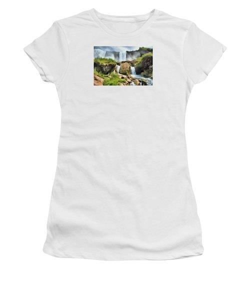 Women's T-Shirt (Junior Cut) featuring the digital art Niagara Falls Cave Of The Winds by Charmaine Zoe