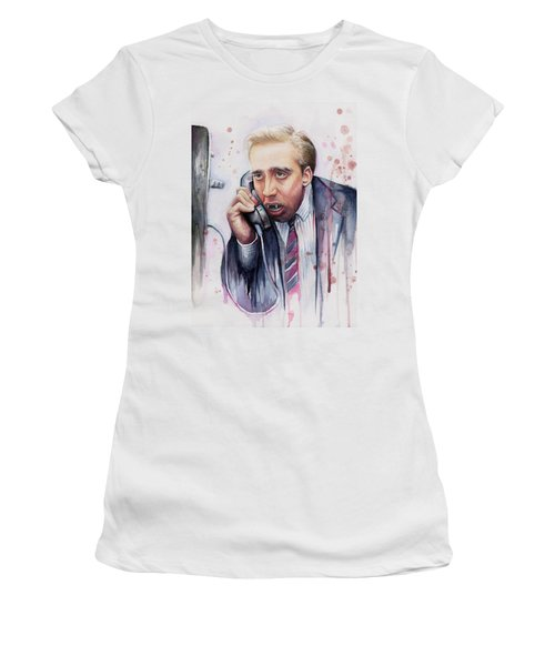 Nicolas Cage A Vampire's Kiss Watercolor Art Women's T-Shirt