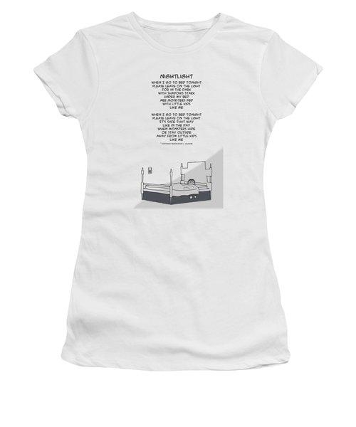 Women's T-Shirt (Athletic Fit) featuring the drawing Nightlight by John Haldane