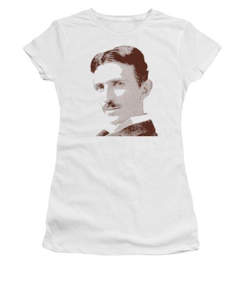 Nikola Tesla - Parallel Hatching Women's T-Shirt (Athletic Fit)