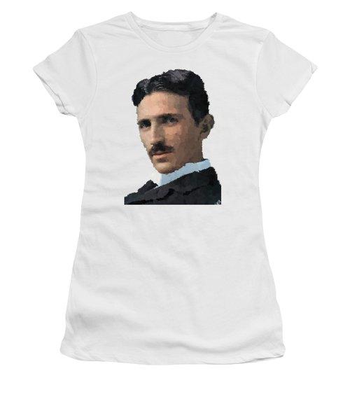 Nikola Tesla Portrait Women's T-Shirt (Athletic Fit)