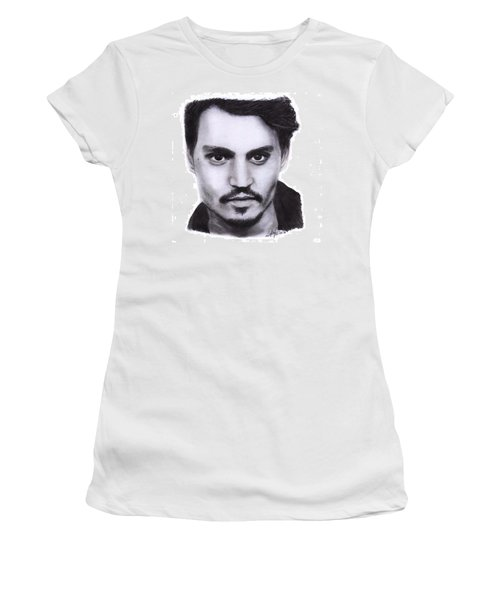 Johnny Depp Drawing By Sofia Furniel Women's T-Shirt