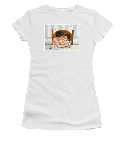 Women's T-Shirt (Athletic Fit) featuring the painting Noah Takes Time For Kira by Marlene Book