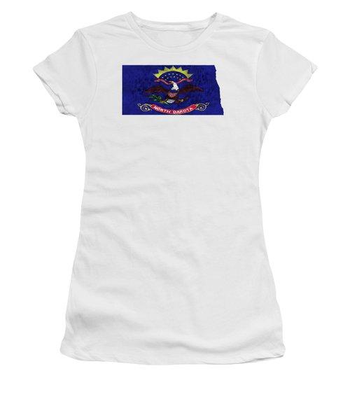 North Dakota Map Art With Flag Design Women's T-Shirt