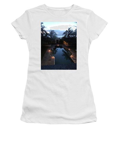 North - Eastern African Home - Sundown Over The Swimming Pool Women's T-Shirt (Junior Cut) by Exploramum Exploramum