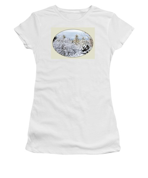 northeast USA photography button Women's T-Shirt (Junior Cut) by Lise Winne