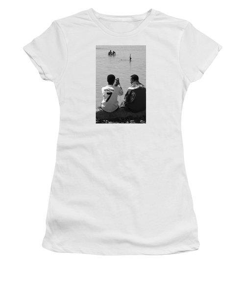 Women's T-Shirt (Junior Cut) featuring the photograph Not Waving But Drowning by Jez C Self