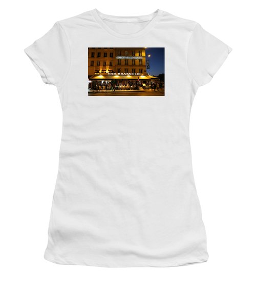 Women's T-Shirt (Junior Cut) featuring the photograph Notre Dame Cafe by Andrew Fare